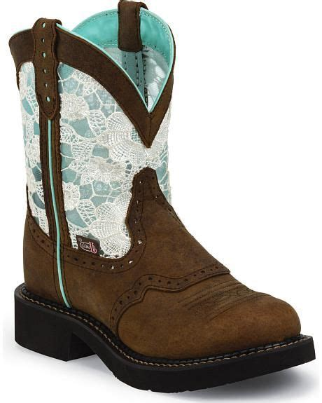 justin gypsy teal lace saddle vamp cowgirl boots