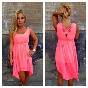 Neon Pink High Low Dress from Dainty Hooligan