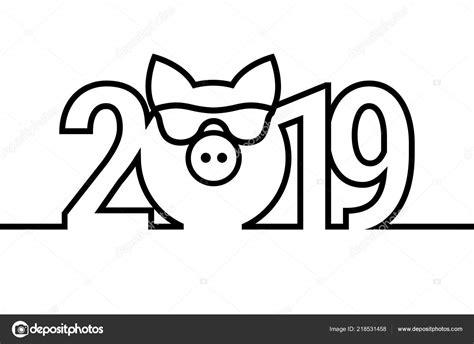 猪年2019黑色和白色徽章。矢量符号。圣诞快乐新年设计元素
