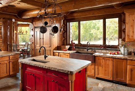 log home kitchen islands cool copper farmhouse sink convention jackson rustic 7156
