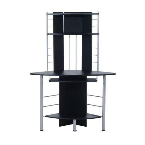 tower corner computer desk homcom 45 quot arch tower corner computer desk black desks
