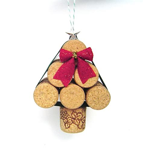 wine cork christmas tree ornament rustic mini by