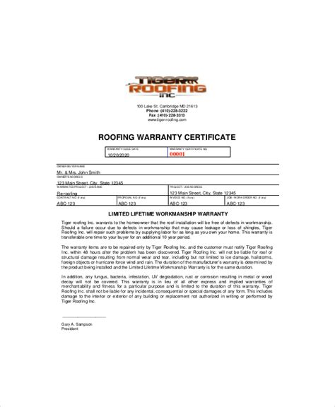 Roof Certification Template by Warranty Certificate Template 9 Free Word Pdf