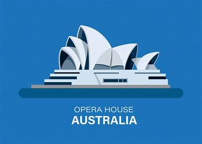 Opera Sydney Landmark Australia Editorial Isolated Flat