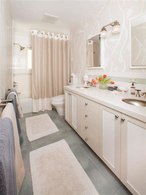 white  cream bathroom  coastal accents hgtv