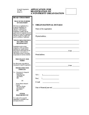 npo application form fill  printable fillable