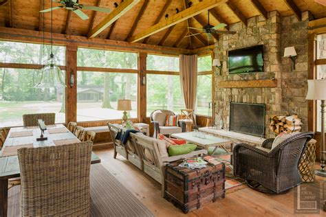 screened porch  exposed rafter ceiling  dining
