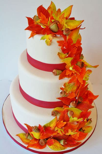 wedding cakes  jersey fall leaves custom cakes