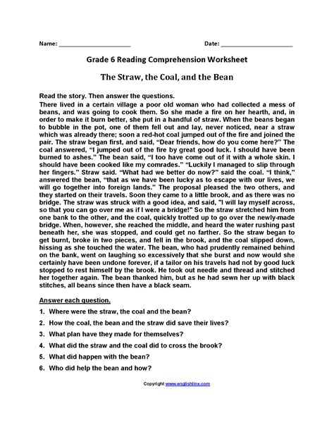 6th Grade Reading Comprehension Worksheets Pdf Breadandhearth