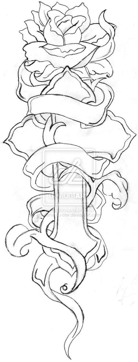 Cross And Rose Line Drawing By Danie Ru Btw Designs Interfaces Tattoo Design 600x1578 Pixel