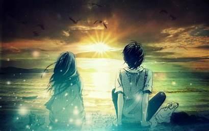 Anime Fantasy Digital Sunset Romance Morning Artwork