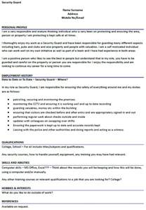 Curriculum Vitae Security Guard by Security Guard Cv Exle Icover Org Uk