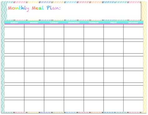 monthly menu template free templates monthly menu planners the modern