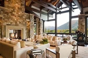 Luxuriously modern colorado mountain home for Mountain home interior design