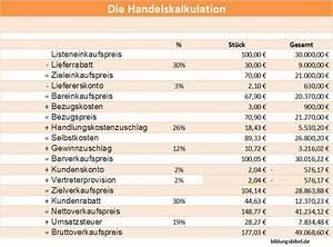 Excel Umsatzsteuer Berechnen : handelskalkulation kalkulationsschema verkaufspreis ~ Themetempest.com Abrechnung