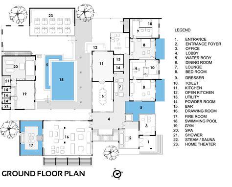 ground floor plan gallery of sachdeva farmhouse spaces architects ka 15