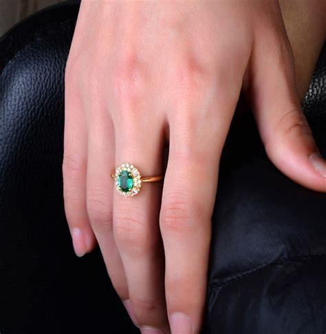 carat halo gemstone green emerald  diamond engagement ring  yellow gold jeenjewels
