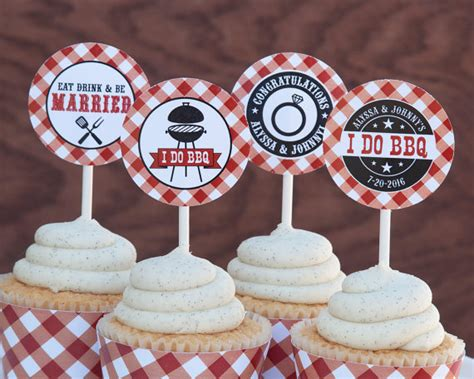 bbq cupcake toppers   bbq decorations   bbq