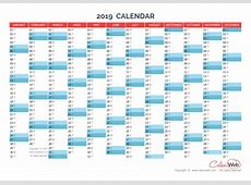 Yearly calendar – Year 2019 Yearly horizontal planning