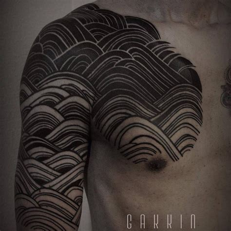 japanese style pattern tattoo  arm shoulder  chest