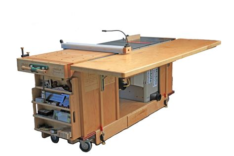 portable table saw outfeed table ekho mobile workshop portable cabinet saw work bench