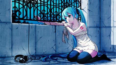 Full Hd Wallpaper Turquoise Hair Sight Green Eyes Sad