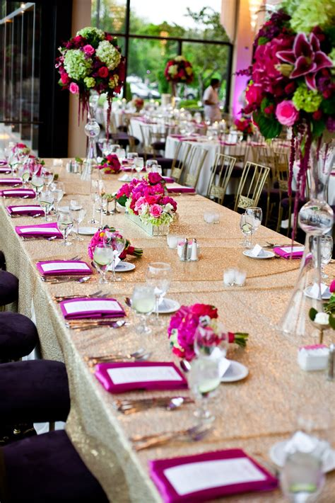 sparkly gold reception table  pink  green