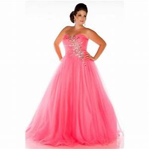 Glamorous A Line Strapless Long Neon Coral Tulle Beaded