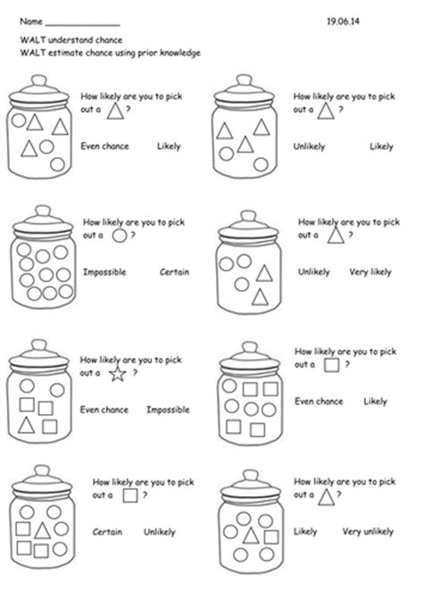 chance worksheets for year 2 year 2 probability chance worksheets by rebeccaremnant