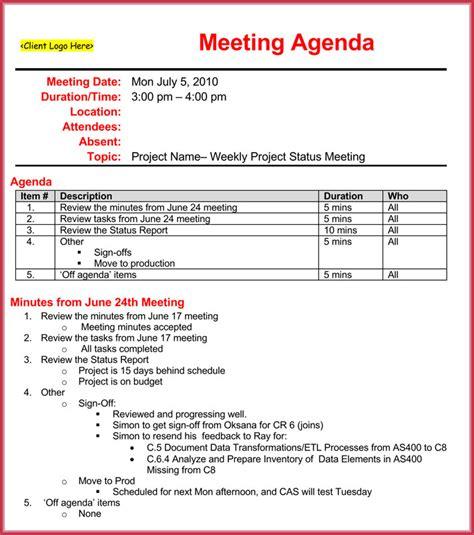 Weekly Meeting Calendar Template by Weekly Meeting Agenda Template 9 Sles Formats In