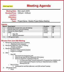weekly meeting agenda template 9 samples formats in With weekly meeting minutes template