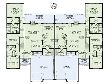 two story duplex floor plans multi family home plans two story duplex plan 025m