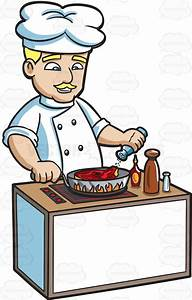 A Chef Cooking A Steak Cartoon Clipart - Vector Toons