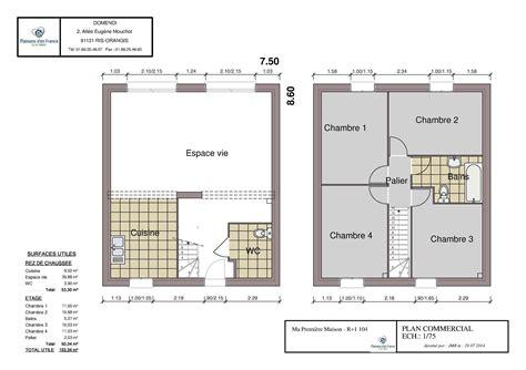 plan maison etage 4 chambres gratuit plan maison 80m2 r 1