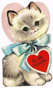 "SWEET FLUFFY WHITE KITTY CAT SAYS ""BE MY VALENTINE ..."