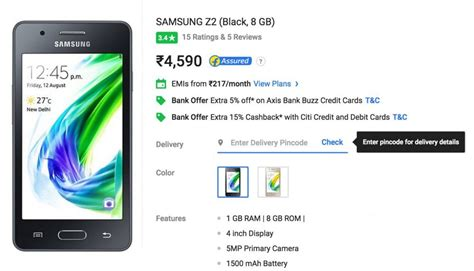 samsung z2 is now available on flipkart and snapdeal in india iot gadgets