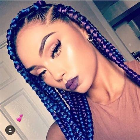 Blue And Purple Box Braids