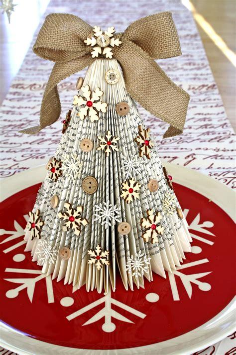 old book christmas tree cocoa daisy