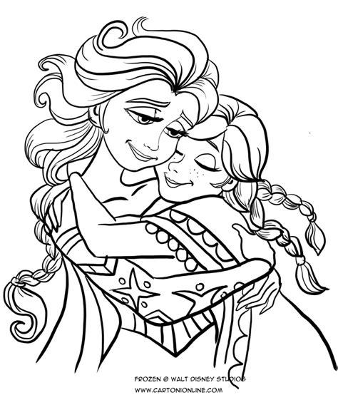 principesse da colorare elsa disegno da colorare di ed elsa che si abbracciano