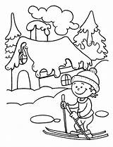 Coloring Winter Pages Ski Learning Little Season Kid Play Young Fun Colouring Weather Books Sky Template Lessons sketch template
