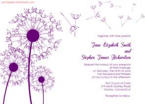 free wedding invitation sles dandelions country wedding invitation template wedding invitation templates printable
