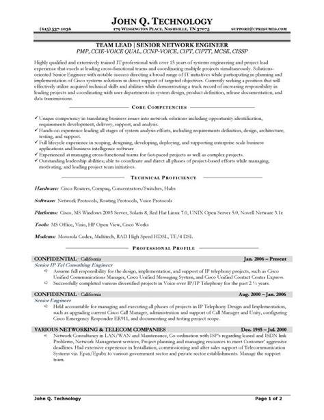 Resume Sles For Network Engineer by Pin By Jobresume On Resume Career Termplate Free Sle