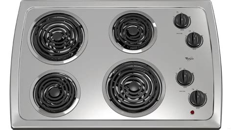 whirlpool coil electric cooktop inch stainless steel elements ajmadison