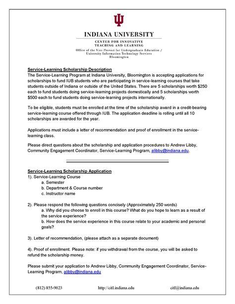 curriculum vitae for scholarship application exle service learning scholarship application department of economics at indiana bloomington