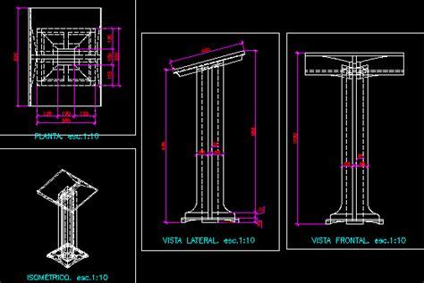 lectern dimensions  details  dwg detail  autocad