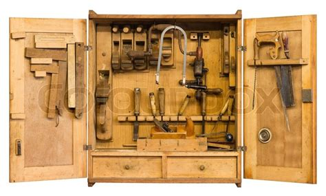 historic tool cabinet filled woth stock photo