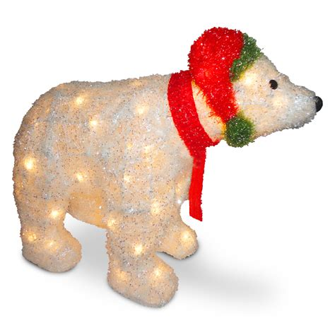 national tree company 18 5in white tinsel 3d polar bear