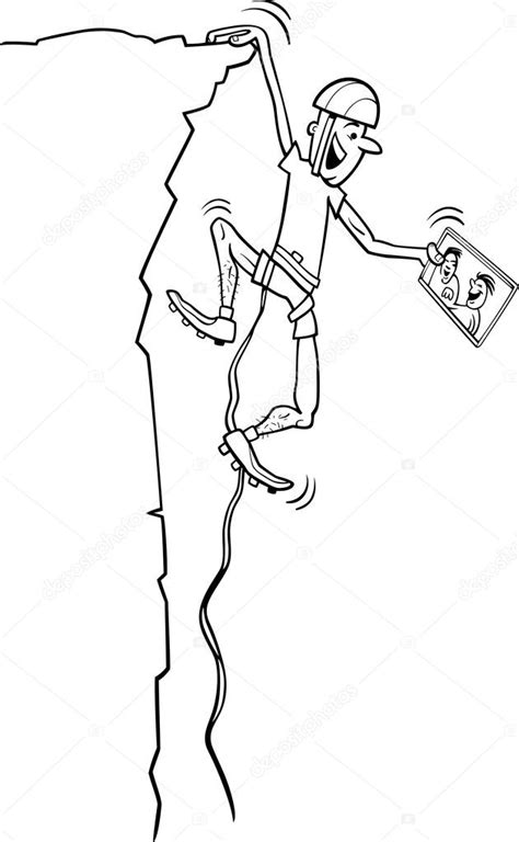 Kleurplaat Klimmen by Klimmer Met Tablet Kleuren Pagina Stockvector