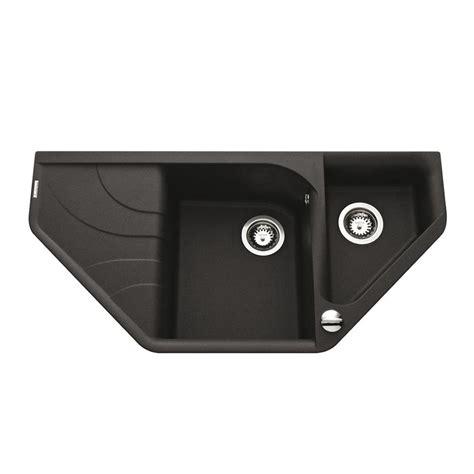 evier d angle cuisine évier d angle granit noir avara 1 bac 1 2 égouttoir à