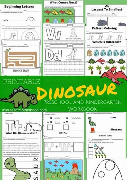 Dinosaur Preschool Printable Kindergarten Workbook Themed Printables